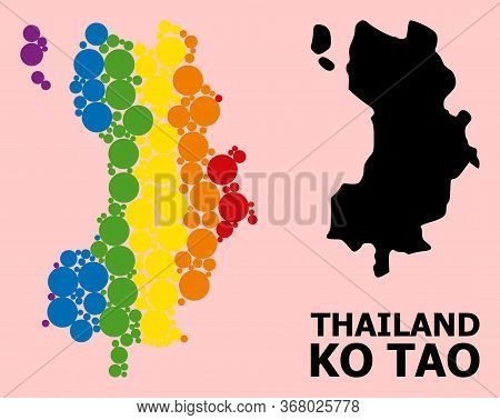 Rainbow Colored Mosaic Vector Map Of Ko Tao For Lgbt, And Black Version. Geographic Concept Map Of K