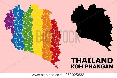 Spectrum Colored Collage Vector Map Of Koh Phangan For Lgbt, And Black Version. Geographic Collage M