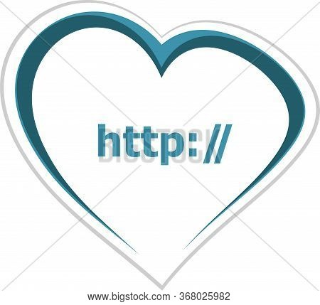 Text Http. Web Design Concept . Love Heart Icon Button For Web Services And Apps