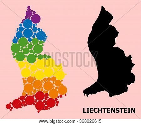 Spectrum Colored Mosaic Vector Map Of Liechtenstein For Lgbt, And Black Version. Geographic Mosaic M