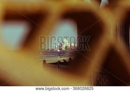 View Of Taj Mahal From Lattice Jali In Agra, Uttar Pradesh, India. Retry Style Effect