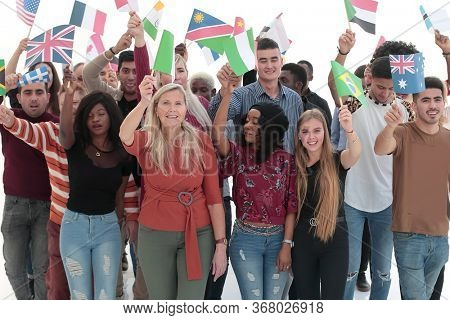 Group of people with flags isolated over white background