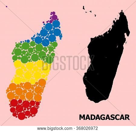 Spectrum Vibrant Pattern Vector Map Of Madagascar Island For Lgbt, And Black Version. Geographic Con