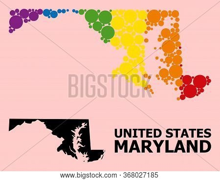 Rainbow Colored Collage Vector Map Of Maryland State For Lgbt, And Black Version. Geographic Collage