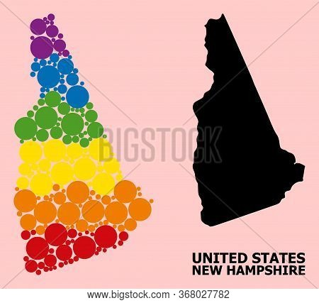 Rainbow Colored Mosaic Vector Map Of New Hampshire State For Lgbt, And Black Version. Geographic Mos