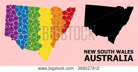 Rainbow Vibrant Collage Vector Map Of New South Wales For Lgbt, And Black Version. Geographic Collag