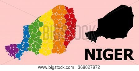 Rainbow Vibrant Collage Vector Map Of Niger For Lgbt, And Black Version. Geographic Collage Map Of N
