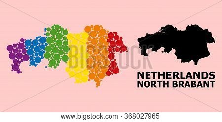 Rainbow Colored Mosaic Vector Map Of North Brabant Province For Lgbt, And Black Version. Geographic