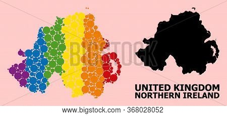 Spectrum Vibrant Pattern Vector Map Of Northern Ireland For Lgbt, And Black Version. Geographic Conc