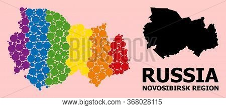 Rainbow Colored Mosaic Vector Map Of Novosibirsk Region For Lgbt, And Black Version. Geographic Mosa