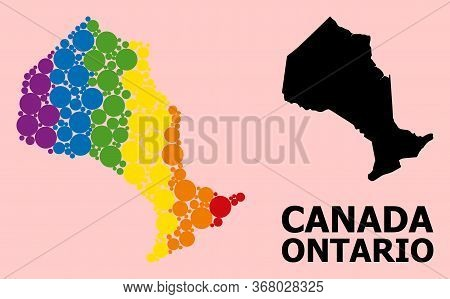 Rainbow Vibrant Collage Vector Map Of Ontario Province For Lgbt, And Black Version. Geographic Compo