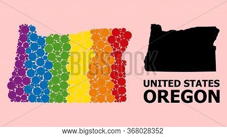 Spectrum Colored Mosaic Vector Map Of Oregon State For Lgbt, And Black Version. Geographic Mosaic Ma