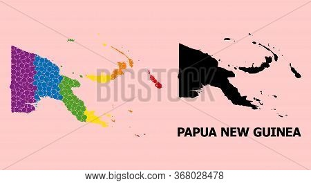 Rainbow Colored Collage Vector Map Of Papua New Guinea For Lgbt, And Black Version. Geographic Compo