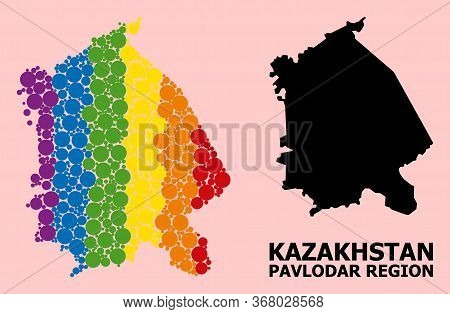 Rainbow Vibrant Collage Vector Map Of Pavlodar Region For Lgbt, And Black Version. Geographic Collag