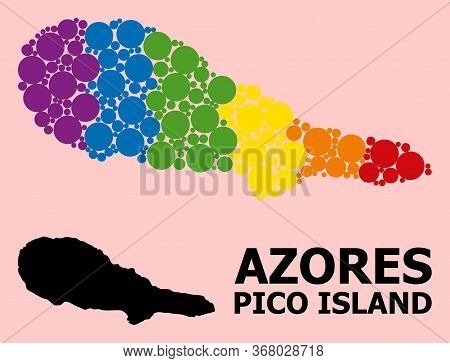 Rainbow Vibrant Pattern Vector Map Of Pico Island For Lgbt, And Black Version. Geographic Concept Ma
