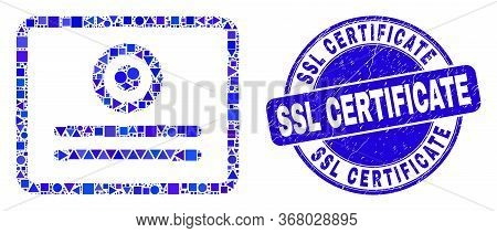 Geometric Certificate Mosaic Icon And Ssl Certificate Seal. Blue Vector Round Grunge Seal With Ssl C