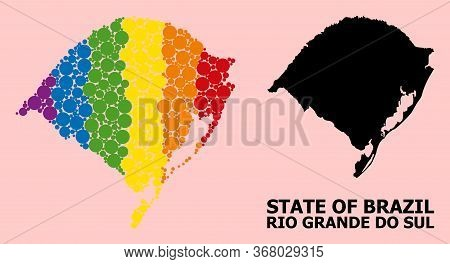 Rainbow Vibrant Mosaic Vector Map Of Rio Grande Do Sul State For Lgbt, And Black Version. Geographic