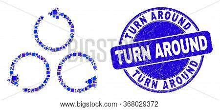 Geometric Different Rotation Mosaic Icon And Turn Around Seal Stamp. Blue Vector Rounded Scratched S