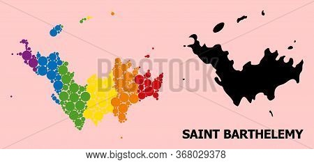 Spectrum Colored Pattern Vector Map Of Saint Barthelemy For Lgbt, And Black Version. Geographic Conc