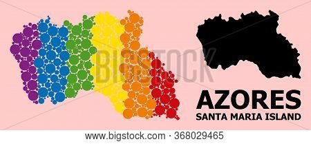 Rainbow Vibrant Mosaic Vector Map Of Santa Maria Island For Lgbt, And Black Version. Geographic Mosa