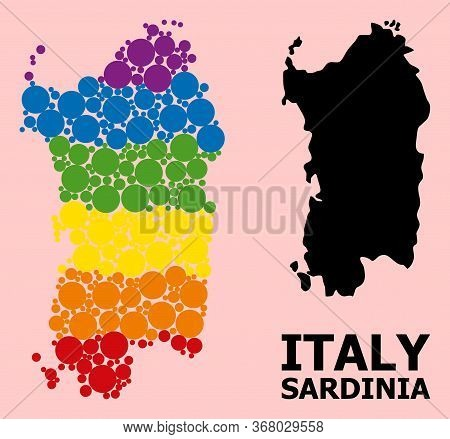 Spectrum Vibrant Collage Vector Map Of Sardinia Region For Lgbt, And Black Version. Geographic Conce