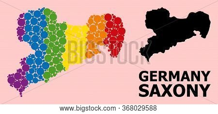 Rainbow Colored Mosaic Vector Map Of Saxony State For Lgbt, And Black Version. Geographic Mosaic Map