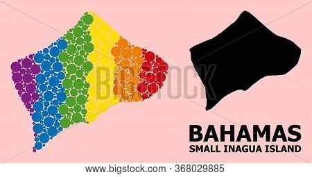 Spectrum Colored Mosaic Vector Map Of Small Inagua Island For Lgbt, And Black Version. Geographic Co