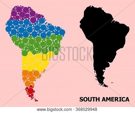 Rainbow Vibrant Collage Vector Map Of South America For Lgbt, And Black Version. Geographic Collage