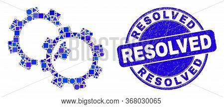Geometric Gears Mosaic Pictogram And Resolved Seal. Blue Vector Round Distress Seal With Resolved Me