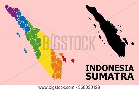 Spectrum Colored Mosaic Vector Map Of Sumatra Island For Lgbt, And Black Version. Geographic Mosaic
