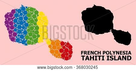 Spectrum Vibrant Mosaic Vector Map Of Tahiti Island For Lgbt, And Black Version. Geographic Mosaic M