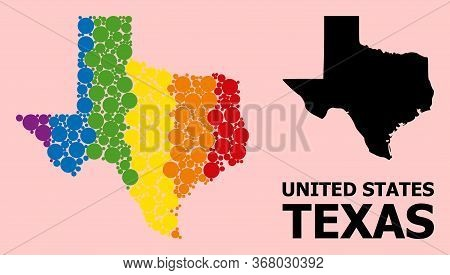 Spectrum Vibrant Pattern Vector Map Of Texas State For Lgbt, And Black Version. Geographic Compositi