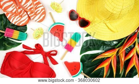 Summer Vacation Resort Theme Flat Lay In Bright Summery Colors.