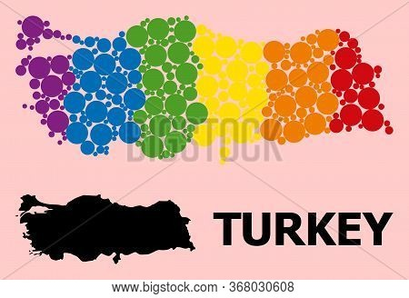 Spectrum Vibrant Mosaic Vector Map Of Turkey For Lgbt, And Black Version. Geographic Mosaic Map Of T