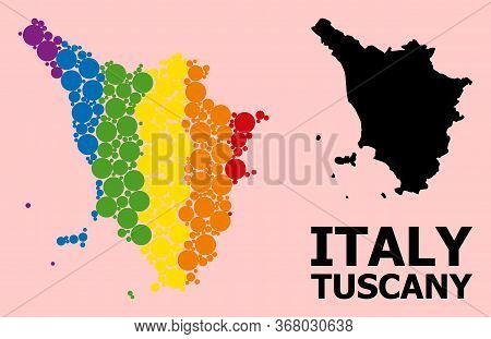 Rainbow Vibrant Mosaic Vector Map Of Tuscany Region For Lgbt, And Black Version. Geographic Mosaic M