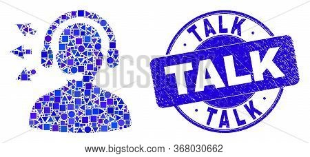 Geometric Operator Talk Mosaic Pictogram And Talk Stamp. Blue Vector Round Grunge Stamp With Talk Ti