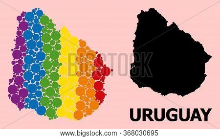 Spectrum Colored Mosaic Vector Map Of Uruguay For Lgbt, And Black Version. Geographic Mosaic Map Of