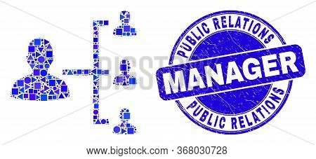 Geometric People Hierarchy Mosaic Pictogram And Public Relations Manager Seal Stamp. Blue Vector Rou