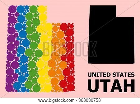 Spectrum Colored Collage Vector Map Of Utah State For Lgbt, And Black Version. Geographic Concept Ma