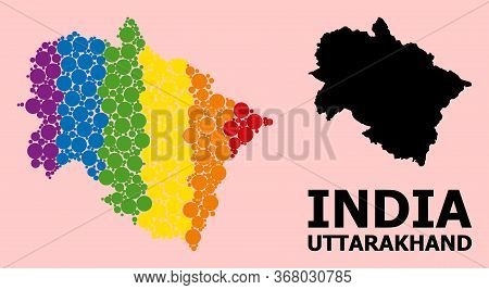 Rainbow Colored Mosaic Vector Map Of Uttarakhand State For Lgbt, And Black Version. Geographic Conce
