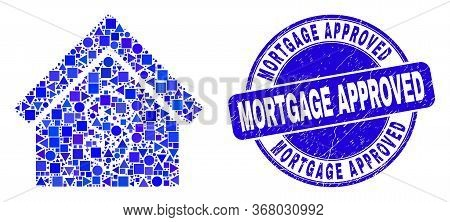 Geometric Rent House Mosaic Icon And Mortgage Approved Seal Stamp. Blue Vector Round Grunge Seal Sta