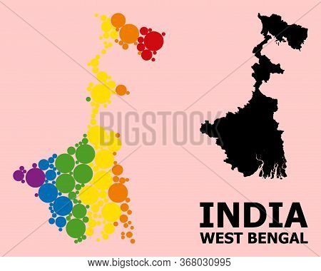 Spectrum Vibrant Pattern Vector Map Of West Bengal State For Lgbt, And Black Version. Geographic Con