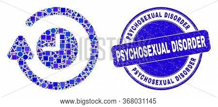 Geometric Rotate Clockwise Mosaic Pictogram And Psychosexual Disorder Seal Stamp. Blue Vector Round