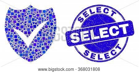 Geometric Valid Shield Mosaic Pictogram And Select Seal Stamp. Blue Vector Rounded Grunge Seal Stamp