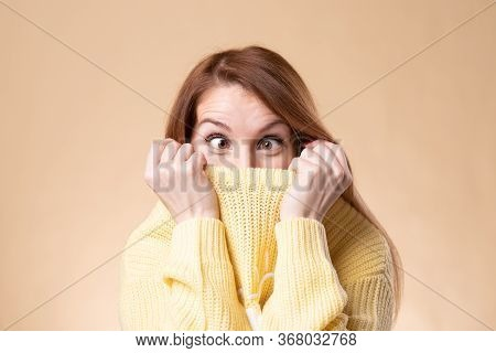 Squint Eyed Woman With Weird Expression Isolated On Background.