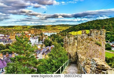 Conwy Town Walls, Unesco World Heritage In Wales, Uk
