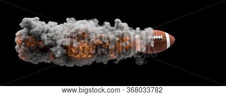 American football ball flying wrapped in flames and smoke on a black background. sport, success concept. 3d render. nobody around.