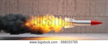 rocket with flames and smoke on a concrete background. 3d render. concept of starting, innovation, speed.