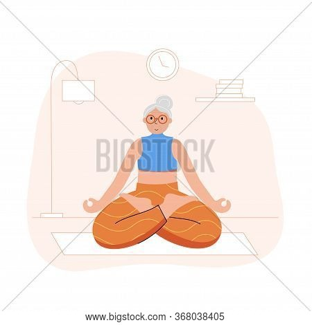 Happy Female Senior Performs Yoga Exercise At Home. Lotus Pose. Old Or Mature Woman Cartoon Isolated