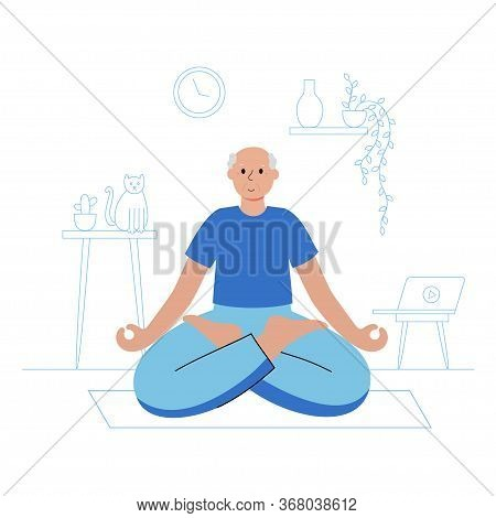 Happy Male Senior Performs Yoga Exercise At Home. Lotus Pose. Old Or Mature Man Cartoon Isolated Cha